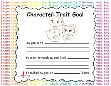 Character Trait Goal Worksheet
